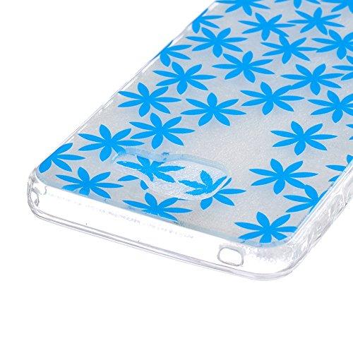 iPhone SE 5 5S Coque (2016 Model)-Linvei TPU Silicon Gel Housse Transparent Case Étui Case Cover for iPhone SE 5 5s Blue Maple