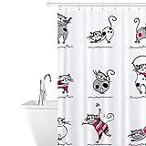 Tatkraft Funny Cats Stoff Duschvorhang 180X180cm Wasserdicht Schimmelfrei mit 12 Duschringen