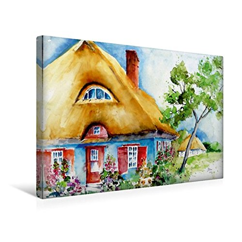 Calvendo Premium Textil-Leinwand 45 cm x 30 cm Quer, Haus in Ahrenshoop   Wandbild, Bild auf Keilrahmen, Fertigbild auf Echter Leinwand, Leinwanddruck: Reeddachhaus an der Ostsee Natur Natur