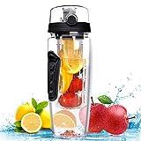 Vicloon Fruit Infuser Trinkflasche 900ml, 1 Liter Trinkflasche Sport Water Bottle 3 Farben, BPA-frei (schwarz)