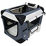 WOLTU HT2059gr3 Hundebox Hundetransportbox Auto Transportbox Reisebox Katzenbox Autobox Box mit Hundedecke Grau, L