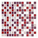 VlugTXcJ Wand-Fliese Transfer Aufkleber Self Adhesive Wasserdichtes Küchen-Fliese Wandaufkleber Vinyl-Kunst-Abziehbild-Ausgangsdekoration 10 X 10 (6 Sheets)
