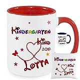 Geschenk zur Erinnerung an den ersten Kindergartentag KINDERGARTEN KIND 2018 TASSE Becher oder KISSEN mit Namen bedruckt Namentasse personalisiert mit Wunschnamen Mädchen Junge