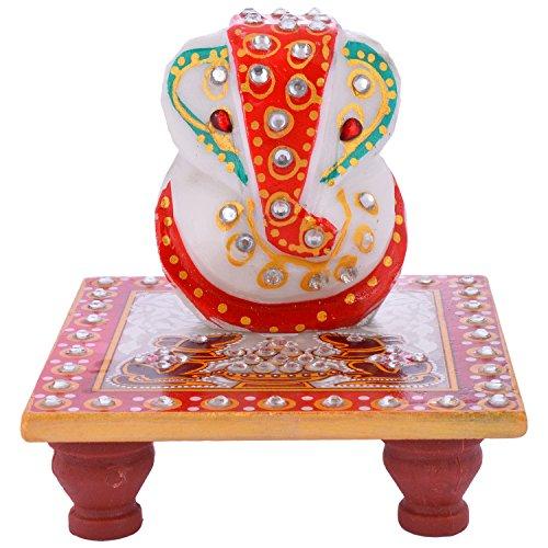 Rajkruti Marble handicraft chowki ganesh - (9.5 cm x 9.5 cm x 10 cm)  available at amazon for Rs.95