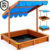 Sandkasten 120x120cm mit höhenverstellbarem und neigbarem Sonnendach und Bodenplane UV-Schutz >50 Sandkiste Kindersandkasten Buddelkiste Sandbox Sandkiste Kinder
