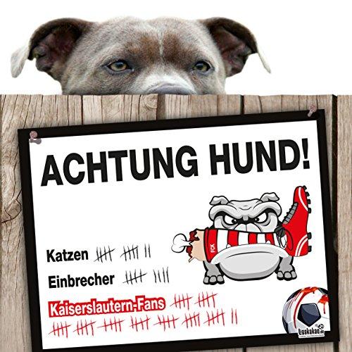 Hunde-Warnschild Schutz vor Kaiserslautern-Fans   Karlsruhe SC-, SV Sandhausen- & alle Fußball-Fans, Dieser Revier-Markierer schützt Haus & Hof vor Kaiserslautern-Fans   Achtung Vorsicht Hund Bissig