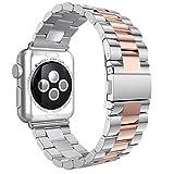 Armband Für iWatch Strap 42mm, AISPORTS Apple Watch Uhrenarmband 42mm Edelstahl Smart Watch Ersatzband Armband Schnalle Schließe Wristband für 42mm iWatch Series 3/2/1,Sport,Edition - Silber&Roségold