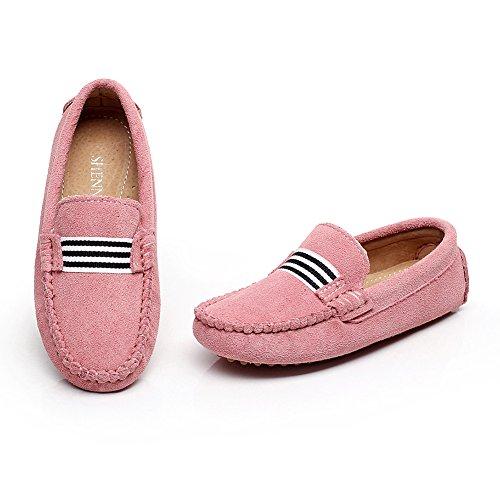 Shenn Fille Garçon Glisser Sur Mignonne Avec Rubans Suède Mocassins Appartements Chaussures Rose