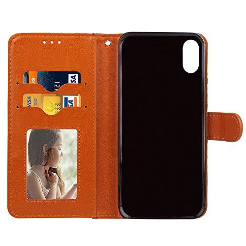 EKINHUI Case Cover Schöne Farbe Druck Stil PU Leder Flip Stand Fall Ganzkörper Vorbereitung TPU Abdeckung mit Card Slots und Magnetverschluss für iPhone X ( Color : Black ) Rose