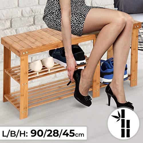 Schuhregal mit Sitzbank | aus Bambus, mit 3 Ablagen, ca. 90 x 28 x 45 cm, in Natur | Schuhablage, Schuhschrank, Schuhständer