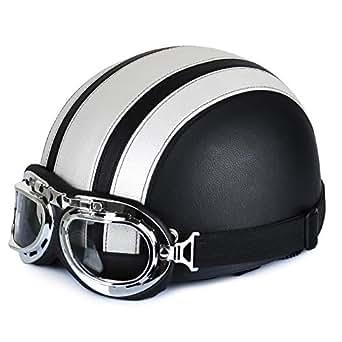 annong casque de moto et velo bol lunettes retro style de vintage cuir harley casque. Black Bedroom Furniture Sets. Home Design Ideas