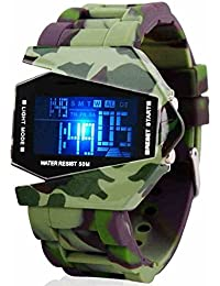 Pappi-Haunt - Imported - Metal Body - Military Color - LED Aircraft Model with Light - Digital Display Wrist Watch for Men, Boys