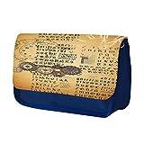 Gotico 011, Orologi, Blu Scuola Bambini Sublimazione di alta qualità Polyester Astuccio Matita Caso con Design Colorato. 21x13 cm.