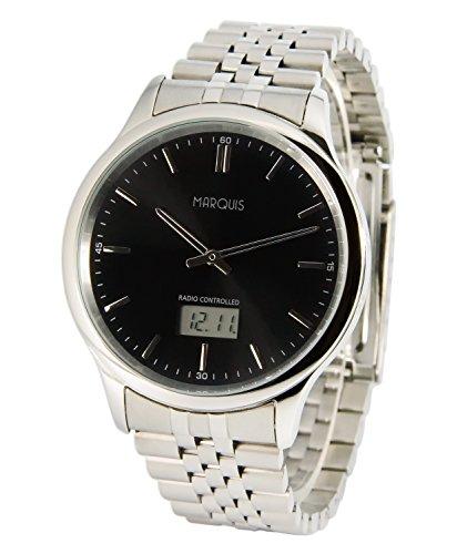 MARQUIS Herren Funkuhr, Gehäuse und Armband aus Edelstahl, Armbanduhr, Junghans-Uhrwerk 964.6222
