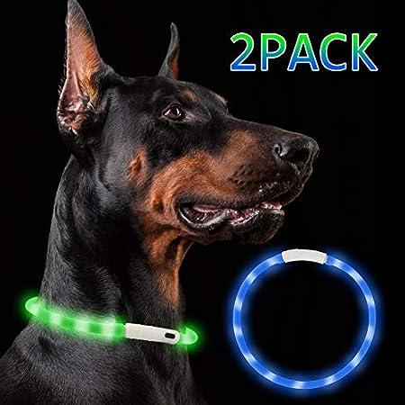 Nakeey LED Leuchthalsband Hunde, 2 Stücke USB wiederaufladbar hundehalsband Leuchtend, Längenverstellbar Nacht-Sicherheit Hunde Halsband für Hunde und Katzen – 3 Modu(Blau & grün)
