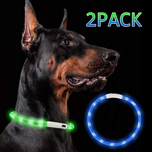 Nakeey LED Leuchthalsband Hunde, 2 Stücke USB wiederaufladbar hundehalsband Leuchtend, Längenverstellbar Nacht-Sicherheit Hunde Halsband für Hunde und Katzen - 3 Modu(Blau & grün)