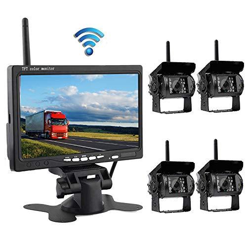 podofo-Siegel mit 7Zoll Farbe LCD Wireless 4Rückseite Backup-Kamera-System für Fahrzeug Kameras Nachtsicht IR Monitor Bauernhof RV (Rv-led-beleuchtung-befestigungen)