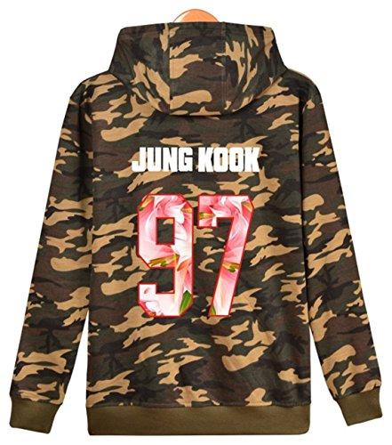SERAPHY Unisex BTS Felpa Felpe con cappuccio Bangtan Boys warmer Winterpulli con Pile Suga Jin Jimin Jung Kook J-Hope Rap-Mostro V Camou-97-JUNG KOOK