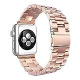 Für Apple Watch Armband 38mm, AISPORTS iWatch Uhrenarmband 38mm Edelstahl Smart Watch Ersatzband Armband Schnalle Schließe Wristband für 38mm Apple Watch Series 3/2/1,Sport,Edition - Roségold