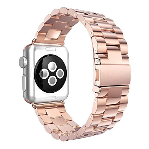 Produktbild Für Apple Watch Armband 38mm, AISPORTS iWatch Uhrenarmband 38mm Edelstahl Smart Watch Ersatzband Armband Schnalle Schließe Wristband für 38mm Apple Watch Series 3/2/1,Sport,Edition - Roségold