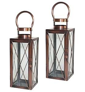 2x metall laterne kupfer design windlicht garten lampe. Black Bedroom Furniture Sets. Home Design Ideas