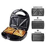 Sandwich Maker, 3 in 1 macchina per waffle e grill da tavolo e tostapane, piastra antiaderente, controllo automatico della temperatura, 3 set di piatti rimovibili