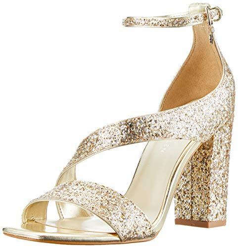KAREN MILLEN Fashions Limited Damen Glitter Block-Heel Sandals Peeptoe Pumps, Gold 84, 39 EU -
