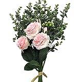 Aisamco Artificiale Fiori Assortiti Rosa Finta Rami di eucalipto Bacche Artificiali 46cm Altezza per Tavolo Decorazione Domestica Matrimonio Composizione Floreale Damigella d'Onore Bouquet da Sposa