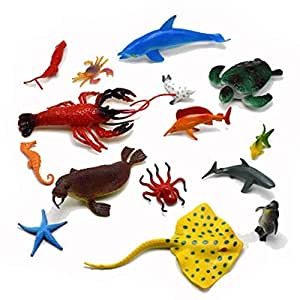 SUPER TOY Aquatic Sea Animal Water Toy Figures for Kids (Pack of 13)