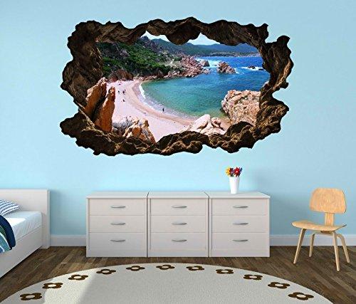 Preisvergleich Produktbild 3D Wandtattoo Meer Sardinien Strand Urlaub Ozean selbstklebend Wandbild Wandsticker Wohnzimmer Wand Aufkleber 11G405, Wandbild Größe F:ca. 162cmx97cm
