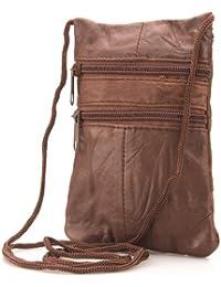 Genuine Soft Leather Neck Passport Holder/Pouch and Purse - 1468, Dark Chocolate