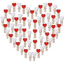100pcs Pinzas de Madera con Corazón Rojo y Blanco 3.5cm Adorno de Fotos Ropa para Celebración Navidad Boda Papel Fotográfico Clips de Artesanía
