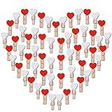 AONER 100PCS Coeur Mini Pinces à Linge Coloré en Bois Clothespin Epingle à Linge Clips Photos pour DIY Décoration (50pcs Blancs+50pcs Rouges)