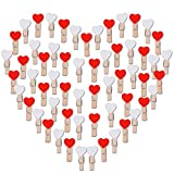 AONER 100 STK Mini Holzklammern Herz (Weiß + Rot) Klammern Holz Deko Klein Wäscheklammern Dekoklammern Holzwäscheklammern Zierklammern (Weiß + Rot)