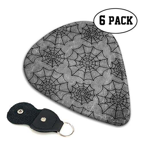 Halloween Spider Web Celluloid Guitar Picks Premium Picks 6 Pack for Guitar,Mandolin,and Bass 0.46mm, 0.71mm, 0.96mm Optional with PU Leather Pick Holder(0.46mm) (Halloween Spider Dog)