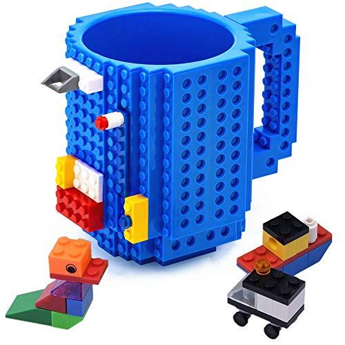VANUODA Build on Brick Mug, Building Blocks Tasse Puzzle Becher, Vatertag Weihnachten Geschenk Idee, Kompatibel für Lego (Blau) - Lego City Ziel