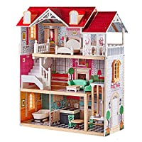 TOP BRIGHT Wooden Dolls House for Girls, Large Dollhouse Toy for Kids with Furniture and Elevator