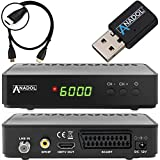 Anadol HD 200 +Plus HD HDTV digitaler Satelliten-Receiver (HDTV, DVB-S2, HDMI, SCART, 2X USB 2.0, Full HD 1080p, YouTube) [vorprogrammiert] inkl. HDMI Kabel - schwarz (mit WLAN)