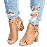 Minetom Damen Sandalen Sommer Herbst Espadrille Mode Schnalle Wildleder Fischmaul Schuhe Blockabsatz Shoes Booties Stiefel Khaki EU 37