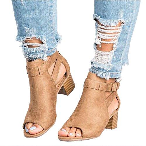 Wildleder Heel Booties High (Minetom Damen Sandalen Sommer Herbst Espadrille Mode Schnalle Wildleder Fischmaul Schuhe Blockabsatz Shoes Booties Stiefel Khaki EU 35)