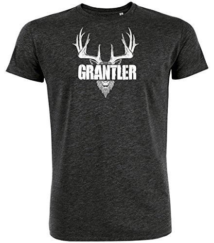DATSCHI Trachten T-Shirt GRANTLER, Bio Baumwolle, Trachtenshirt Oktoberfest Bayrisch (XL, Darkgrey-Weiss)