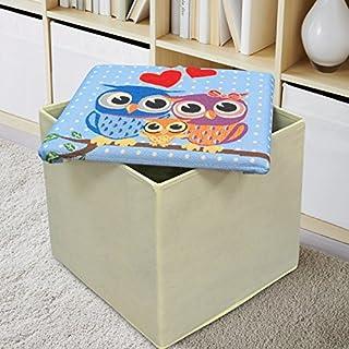 Ashley Mills Sitzhocker/Sitztruhe mit Aufbewahrungsfunktion für Bettdecken, Spielzeug Box Tapisserie Blau Polka Dot Multi Eule Gepolsterte Deckel