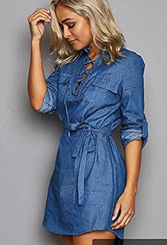 Xizi Denim Damen Kleid mit Gürtel (Calvin Klein Hemdkleid)