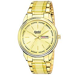 Ajantas Analog Golden Dial Day and Date Functioning Mens and Boys Watch AQ-035-GL