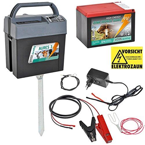 """Weidezaungerät (9V, 12V, 230V) """"AURES3"""" inkl. 9V Weidezaunbatterie und Zubehör, passend für den Elektrozaun und Weidezaun ihr Begleiter für die Weide Netzgerät, Batteriergerät"""