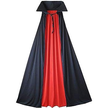 Cusfull Mantello Vampiro Uomo Donna Nero Rosso Costume Halloween per Bambini  e Adulti Rivestimento Capo Lungo Senza Cappuccio Cappotto Gotico Costumi da  ... dccb2b03fef4