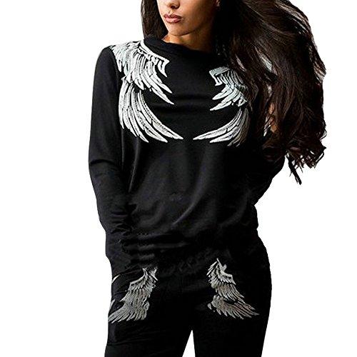Wenyujh Femmes Survêtement 2 Pièces Ensemble Sportswear Sweatshirt Imprimé Plumes Manches Longues et Pantalons de Sport Fashion Décontractée Noir