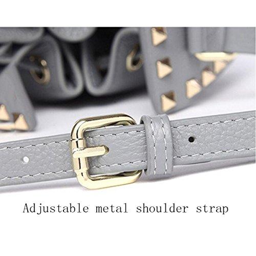 Damenmode Leder Umhängetasche Rivet Bucket Bag Einfache Aktives Seil Tasche Khaki