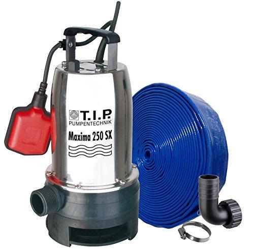 TIP-30266-Schmutzwasser-Tauchpumpe-Edelstahl-MAXIMA-250-SX-mit-10-m-Ablaufschlauch--32-mm-bis-14500-lh-Frdermenge