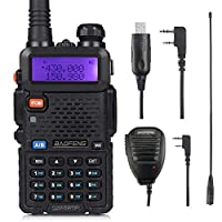 Baofeng UV-5RTP 8W High Power Two Way Radio Walkie Talkies Dual Band Amateur (Ham) Radio with Earpiece Headset + Speaker Mic + High Gain Antenna + Programming Cable